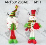 Decorazione levantesi in piedi di natale del pupazzo di neve e della Santa con Gifts-2asst
