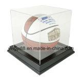 Caso de visualización a estrenar del balón del baloncesto/de fútbol con la base negra