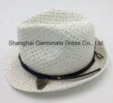 Sombrero de paja de papel con la venda de cuero de la corona de la PU (Sh045)