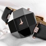 형식 섹시한 여자 복장 사파이어 세라믹 시계 큰 다이얼 사각 검정 백색 방수 내진성 Relogio Feminino는 해방한다