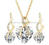 愛中心の形のインドの花嫁の立方ジルコニアの宝石類のネックレスのドバイの金のRani Haarの宝石類セット