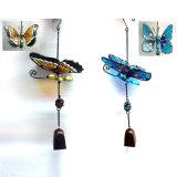 Mestiere di Windbell di vetro macchiato della farfalla W. del metallo del giardino di 2 Asst