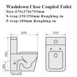 Wasserzeichen-bündiges Verdoppelungbadezimmer-zweiteilige keramische Toilette (6014)