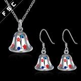 Jeu en gros de bijou de boucle d'oreille de collier de Bell de tintement de cadeau de Noël
