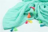 Manufaktur-direkte kundenspezifische reine Farben-Schals mit Anhängern