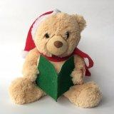 Ursinho de pelúcia personalizado com chapéu, lenço e livro