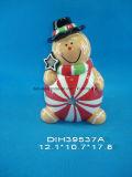 Suporte de vela cerâmico Hand-Painted da luz do chá do boneco de neve