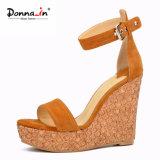 (Donna-в) сандалии высокой пятки клина пробочки лазера женщин замши малыша