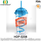 16oz dubbele het Drinken van het Sap van de Muur Plastic Fles, Vrije Plastic Tuimelschakelaar BPA met Stro (hdp-0208)