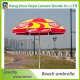 Parapluie de plage se pliant droit durable en acier personnalisé de jardin d'impression