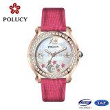 Wristwatch кварца неподдельной кожи красного цвета
