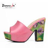 (Donna-в) женщин пятки коровы сандалии платформы кожаный толщиных флористические сотка