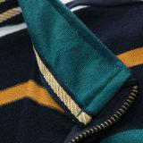 Do bordado longo da listra do Yd da luva do piqué do Spandex 220GSM do algodão 5% de 95% camisas de polo feitas sob encomenda