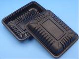 卸し売り新鮮な肉の野菜黒いプラスチック皿