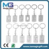 Commercio all'ingrosso su ordinazione di Keychain del metallo, catena chiave del metallo popolare di alfabeto inglese
