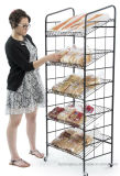 Supermarket Iron Rolling Baker' S Display Rack with 5 Shelves