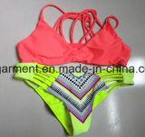 Gelbes festes Druckenreizvoller Beachwear-Bikini für Frauen-Mann/Mädchen, Schwimmen-Abnützung
