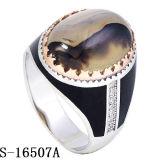 Monili d'argento dell'anello del nuovo modello 925 con l'agata naturale