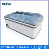 Congelador do indicador do alimento de mar e do alimento Frozen com a tampa de vidro curvada