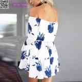 weg vom Schulter-Blumendruckdrawstring-Ferien-Kleid L28237