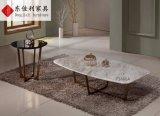Tavolino da salotto rotondo con la parte superiore del marmo della natura ed il piedino dell'acciaio