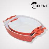 Cassetto ovale di ceramica mobile di cottura della torta con le orecchie
