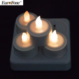 Home Decoration Seth of 4 Flameless LED Rechargeable Candle