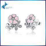 Boucles d'oreille S925 argentées colorées roses belles