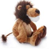 Nici 앉는 사자 동물성 견면 벨벳 브라운 연약한 채워진 OEM 장난감