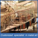 ガラスステアケースの手すりが付いているカスタマイズされた工場製造のステンレス鋼