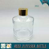 250ml vacian la botella de lámina de cristal del difusor con el casquillo del aluminio del oro