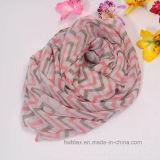 Écharpe de Tublar de polyester estampée par modèle d'onde pour les femmes (HP16)