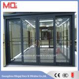 De grijze Schuifdeur van het Aluminium van de Kleur met Dubbel Glas mqd-01