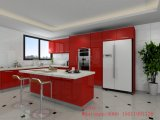 Moderne hölzerne rote Küche-Schränke (angepasst)