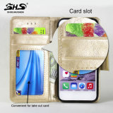 Het Geval van de Telefoon van het Leer van de Groef van de Kaart van de Portefeuille van Shs voor Samsung S7
