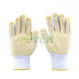 Перчатки хлопка Bleach, связанный желтый PVC ставят точки перчатки (D16-H2)