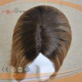 Peruca de enraizamento escura superior de seda das mulheres do cabelo humano de Remy do Virgin (PPG-l-0636)