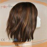 Máquina completa Hecho de fibra sintética de Wefted corto Mezclado mujeres peluca del pelo humano