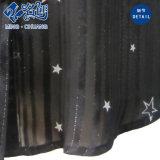 Schwarze Revers-Tasten-Form-Dame-Bluse mit Stern-Druck