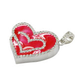 Ювелирные изделия водоустойчивое 16GB Keychain привода большого пальца руки ручки USB сердца влюбленности