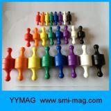 Pin enduit en plastique de poussée d'aimant de bureau coloré de néodyme
