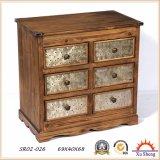 Gabinete alto francês da sala de visitas do estilo 6-Drawer do vintage de madeira na cor natural