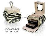 Form-Entwurfzebra-Muster-Leder-ovaler Form-Reißverschluss-Schmucksache-Kasten