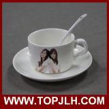 Tazza di caffè di ceramica di sublimazione con il piatto & il cucchiaio