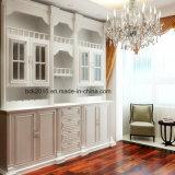 旧式で白いラッカー純木のドアのワインのキャビネットBk-02