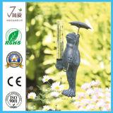 Figurita de metal de la rana de medición de lluvia Indicador de precipitación para la decoración del jardín
