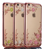 Flower macio TPU Cell Phone Caso com o Diamond para iPhone6s Plus