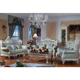 Hölzernes ledernes Sofa stellte für Wohnzimmer-Möbel ein (D530)