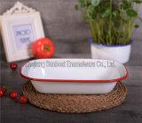 Placa retangular da louça do esmalte do prato da torta do dispositivo de cozinha do Kitchenware/de Sunboat (ajustar)
