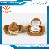 Caixa de jóia pequena do pendente do anel do brinco de veludo Shaped do chapéu da fábrica